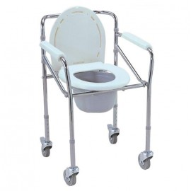 Foldable Commode with Wheels Aluminium